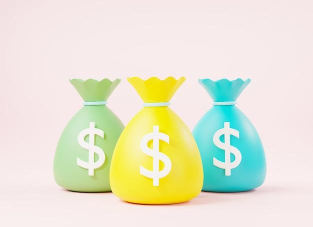 Three money bag with dollar icon cash 3d rendering illustration