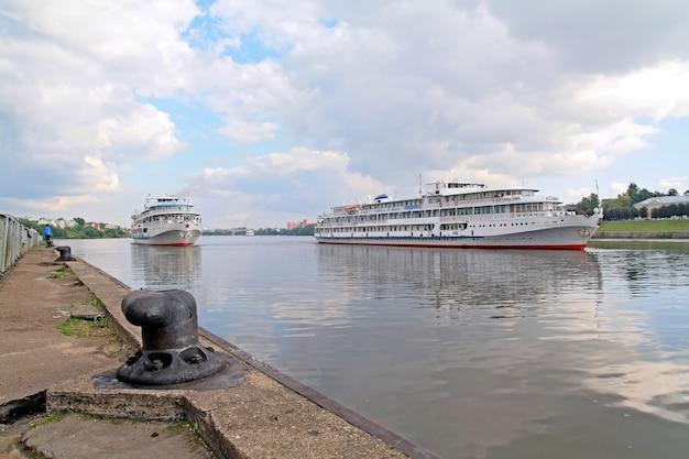 Three motor ships on quay
