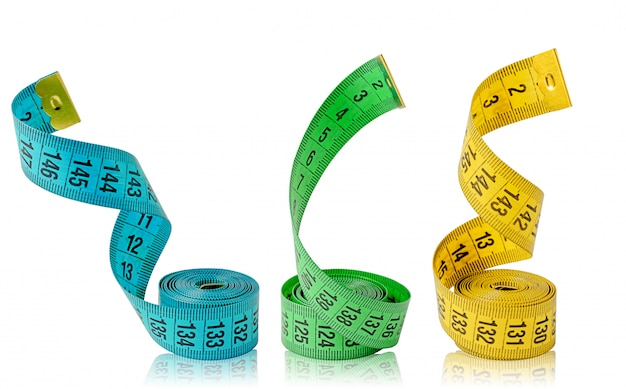 Three multi colored measuring tapes isolated on white