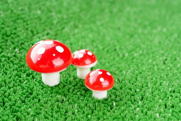 Три грибных мухомора на лугу