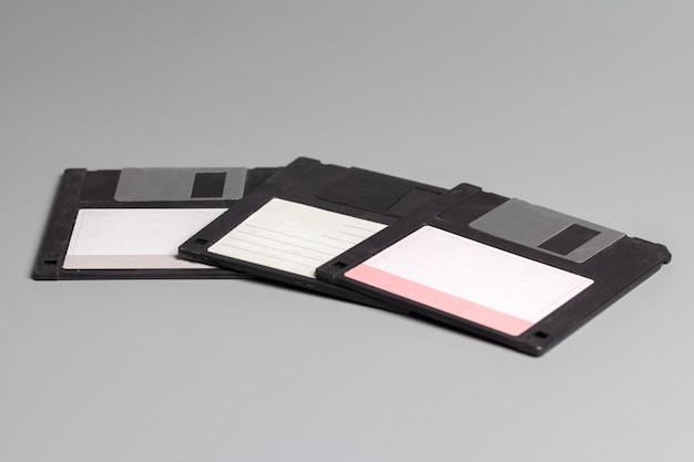 Three old computer diskette
