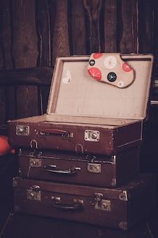 Three old vintage suitcase