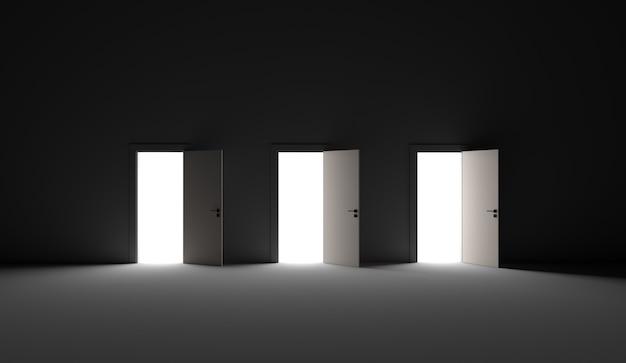 어두운 방에 세 개의 문이 열려 있습니다. 3d 렌더링 그림.