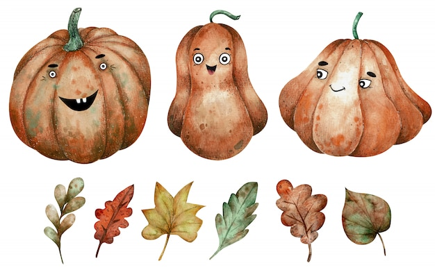 Three orange watercolor pumpkins and autumn leaves clipart. hand-drawn halloween illustration.