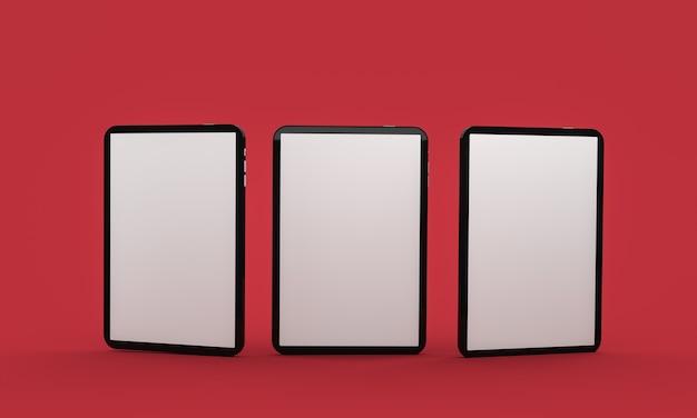 빨간색 표면에 세 개의 패드 장치