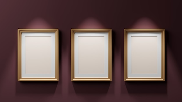 Three paintings in gold frames on a dark burgundy wall, mockup, 3d render