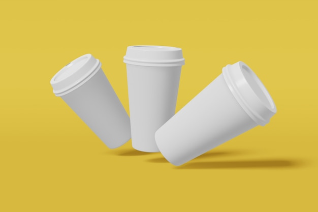 Три бумажный стаканчик с крышкой летит на серый, 3d-рендеринга