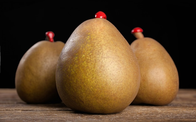 Three pears with sealing wax