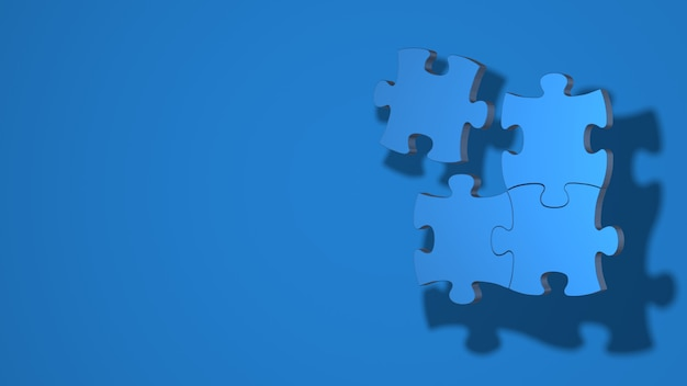 Three pieces of the puzzle are connected one separately 3d rendering