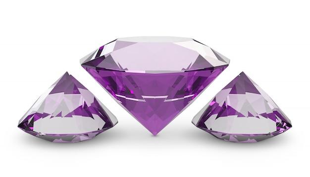 Three pink diamondsl of a white background. 3d render