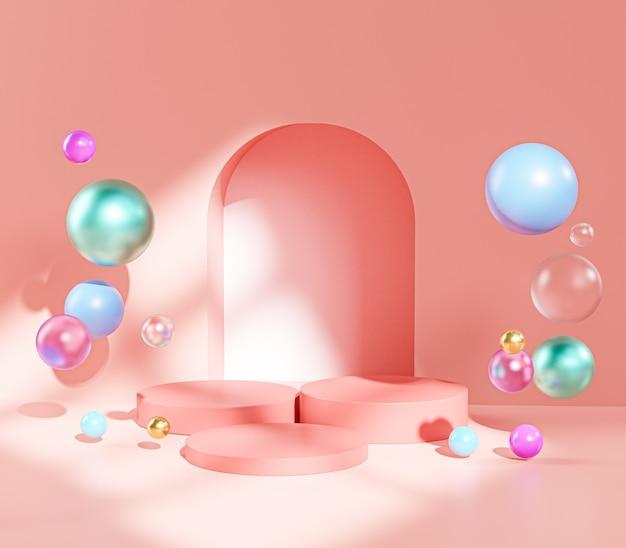 Three pink pedestal podium stage door colorful balls sphere display product 3d rendering
