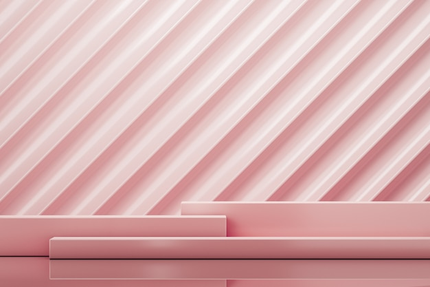 Three pink platform on pink zigzag background abstract background for branding or presentation