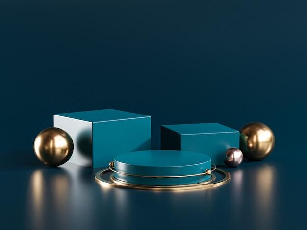Three podium stage gold sphere dark teal display product 3d rendering