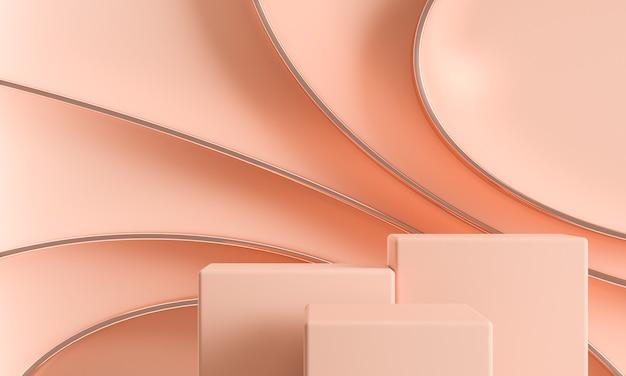 브랜딩 및 프리젠 테이션을위한 추상 반짝 이는 원형 선이있는 3 개의 연단.