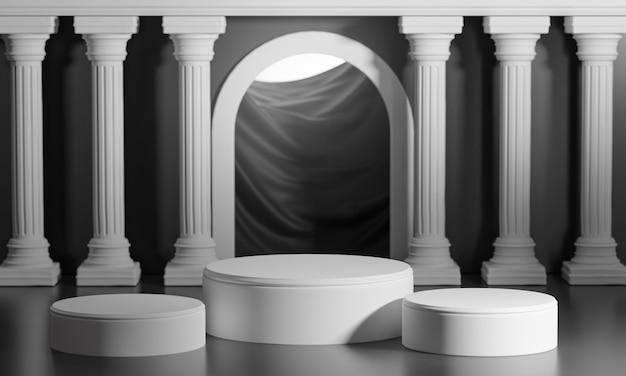 Три подиума яркие блестящие черные двери классические колонны столбы колонады 3d визуализации