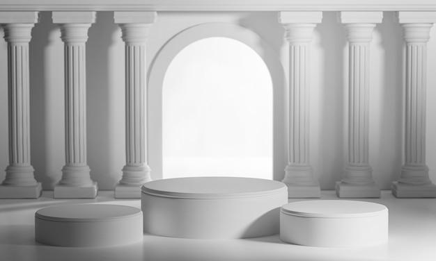 Три подиума яркие сияющие двери классические столбы колонны колонады 3d визуализации