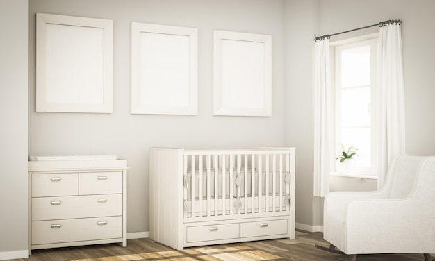 Three poster mockup on baby room wall