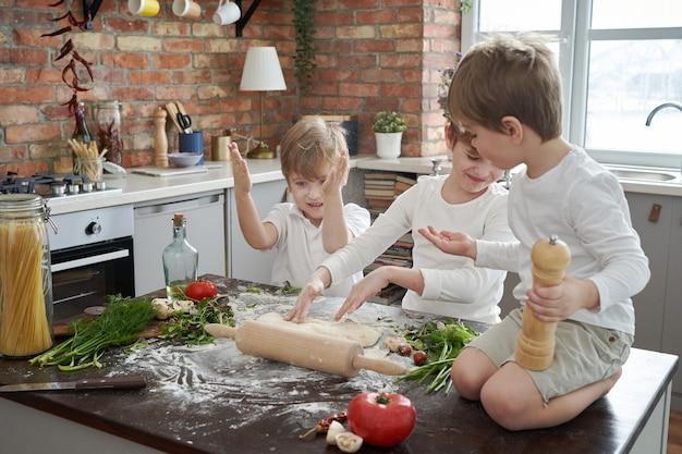 백인 가족의 세 명의 미취학 아동과 부엌에서의 여가 활동. 소년들은 놀고 함께 성장하는 것을 즐깁니다.