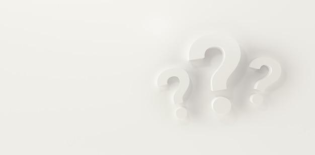 Три вопросительных знака в панорамном белом фоне студии. 3d-рендеринг.