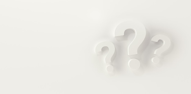 Three question marks in panoramic white studio background. 3d rendering.