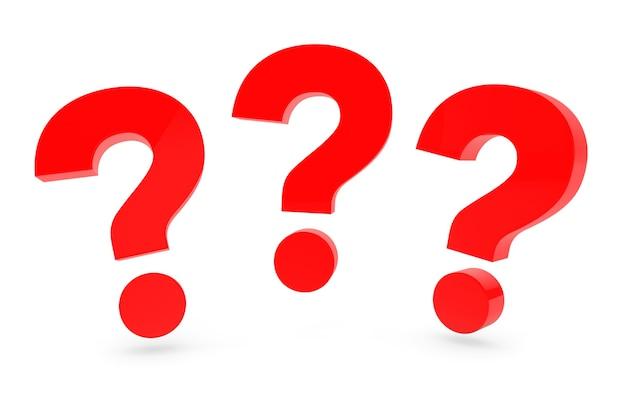 Три красных вопросительных знака на белом фоне