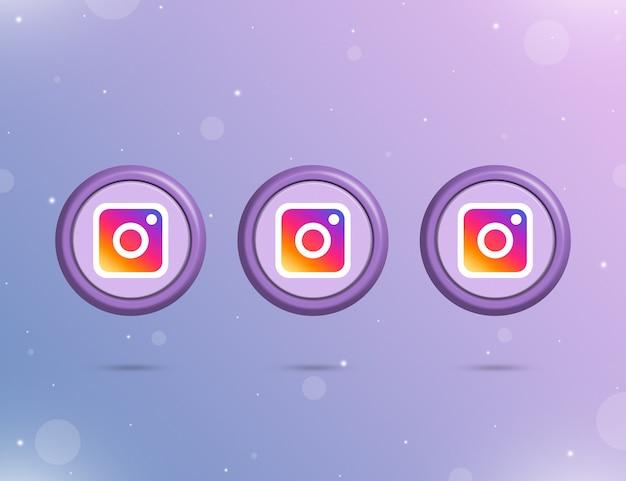 소셜 네트워크 instagram 3d 로고가 있는 3개의 둥근 버튼