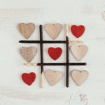 Three in a row with different hearts
