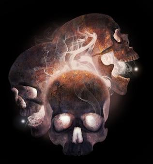 연기에 세 녹슨 인간의 두개골입니다. 고립 된 현실적인 그림입니다. 손 그리기.