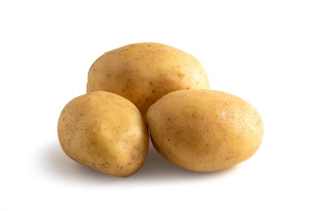 흰색 배경에서 격리 된 세 계절 감자 프리미엄 사진