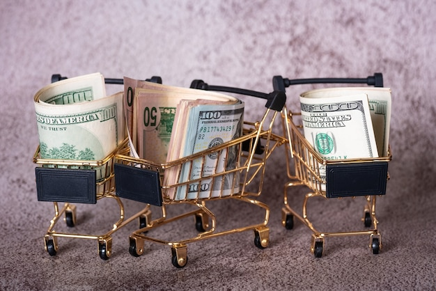 Three shopping baskets with dollars in them on a gray background. financial and banks concept.