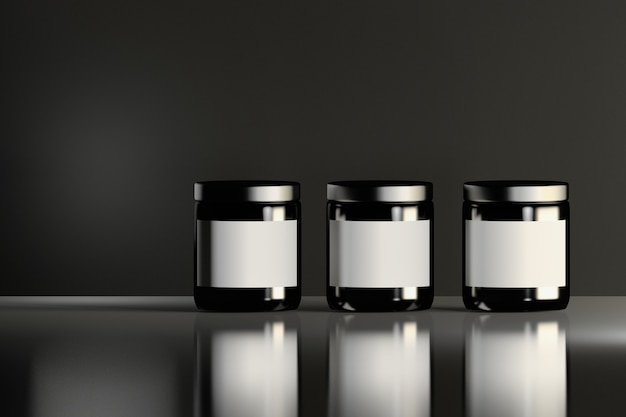 Three similar shiny black cosmetic jars with white labels standing on the reflective shiny surface. beauty products package design.