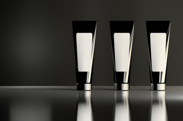 Three similar shiny black cosmetic tubes with white labels standing on the reflective shiny surface. beauty products package design.