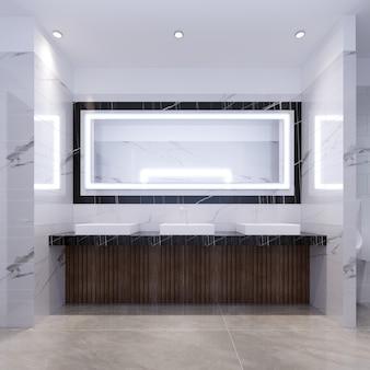 Три раковины на мраморной черной столешнице и большое зеркало в раме. общественный туалет. 3d рендеринг