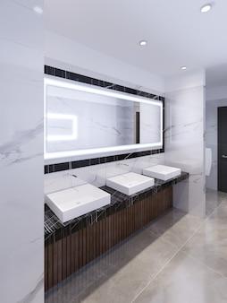 대리석 검정 조리대에 세면대 3개와 프레임에 대형 거울이 있습니다. 공중 화장실. 3d 렌더링