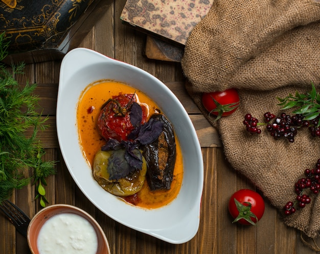 Three sisters dolma, national vegetable dolma of azerbaijan
