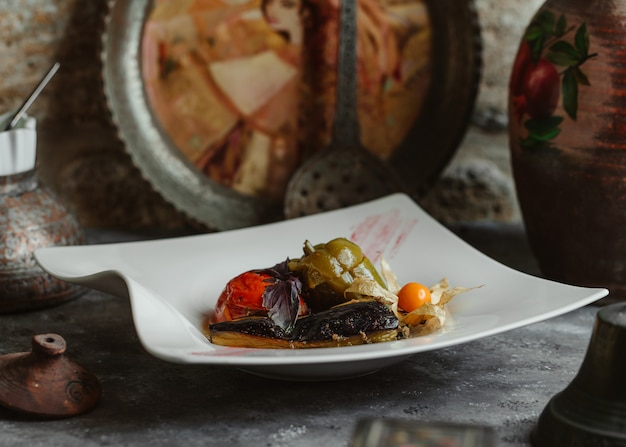 Three sisters domla with eggplant, tomato and green bell pepper.