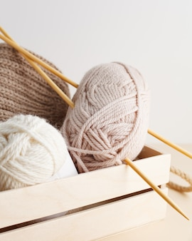 Three skeins of yarn nice photo for a hobby vertical orientation hobby aesthetics
