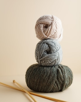 Three skeins of yarn nice photo for a hobby vertical orientation