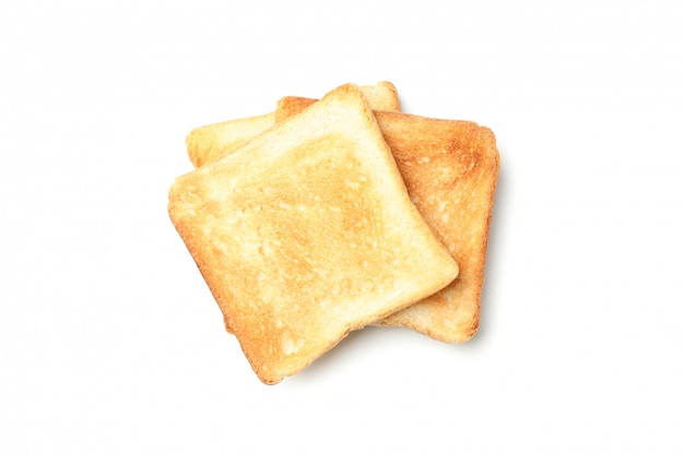 Three slices of bread toasts isolated on white background