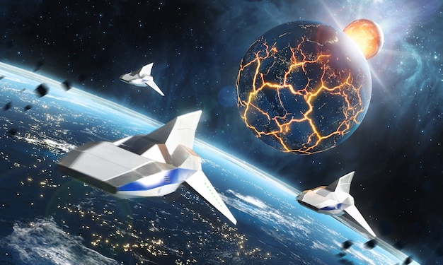 Three space ships flying to the collapsing planet. sci-fi concept.. view of planet earth burning in space. 3d rendering.