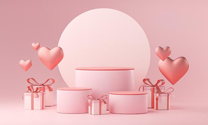 Tre fasi modello san valentino matrimonio amore a forma di cuore e confezione regalo 3d rendering