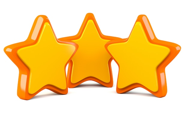 Three stars isolated on white background