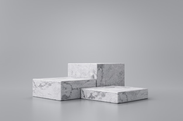 Three step of white marble product display on gray background with modern backdrops studio. empty pedestal or podium platform. 3d rendering.