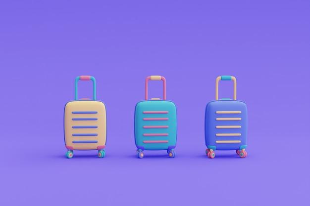 여행 가방 3개, 관광 및 여행 개념, 휴가 휴가, 여행 준비, 최소한의 디자인, 3d 렌더링.