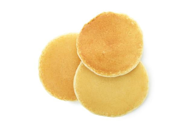 Three tasty pancakes isolated on white background