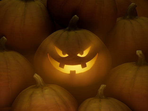 3 개의 치아 미소 조각 호박 얼굴 이모티콘 3d 그림 렌더링 어두운 조명