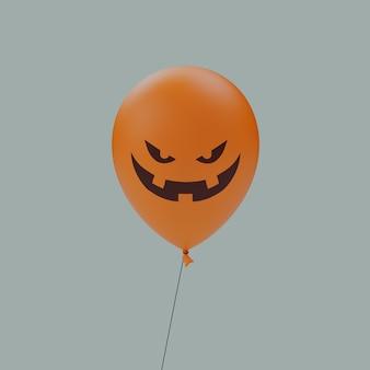 세 치아 미소 유령의 할로윈 무서운 얼굴 풍선 이모티콘 격리 된 3d 그림 렌더링