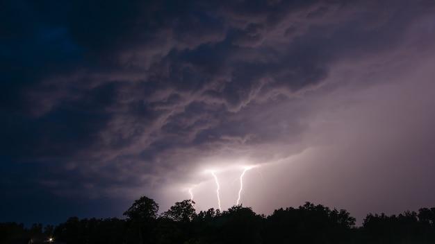 Три громовых молнии над деревьями ночью