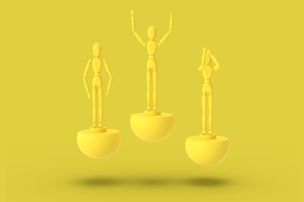 Three toy man of yellow color on a sports abstract pedestal. minimal concept: winner, loser. 3d render.