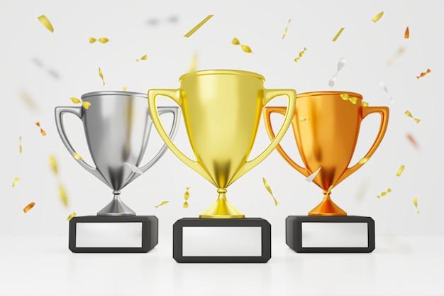 Три трофея с блестящей лентой